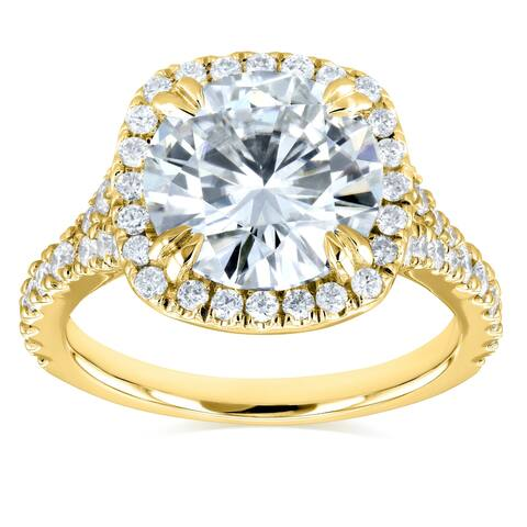 Annello by Kobelli 14k Gold 3 5/8ct TGW Round Moissanite (FG) and Diamond Halo Split Shank Engagement Ring