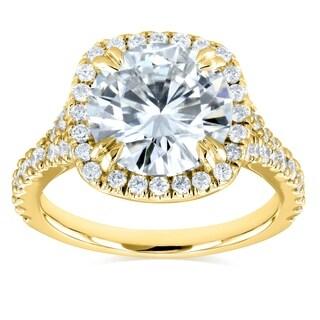 Annello by Kobelli 14k Gold 3 5/8ct TGW Round Moissanite (FG) and Diamond Halo Split Shank Engagement Ring