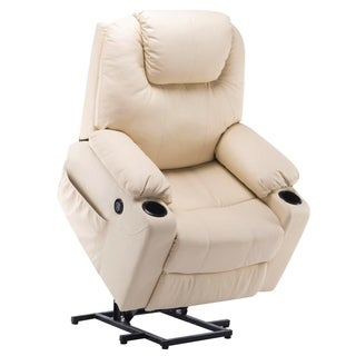 Mcombo Electric Power Lift Massage Sofa Recliner Heated Chair Lounge w/ Remote Control USB Charging Ports, 7040 (Cream white)