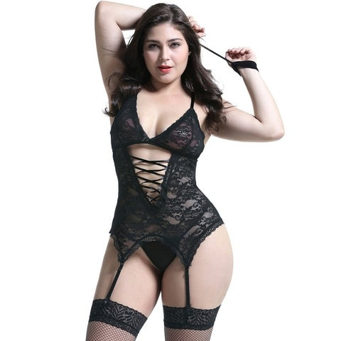 Women Sexy Lingerie Stretchy Lace Bodysuit Black