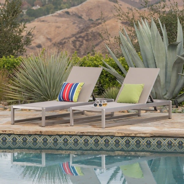 Metten Outdoor Mesh Chaise Lounge (Set of 2) by Christopher Knight Home