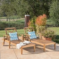 Perla Outdoor Acacia Wood Chaise Lounge (Set of 2) by Christopher Knight Home