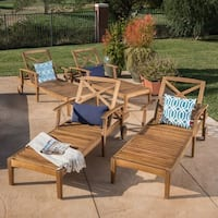 Perla Outdoor Acacia Wood Chaise Lounge (Set of 4) by Christopher Knight Home