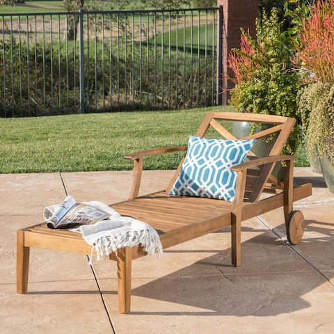 Perla Outdoor Acacia Wood Chaise Lounge by Christopher Knight Home