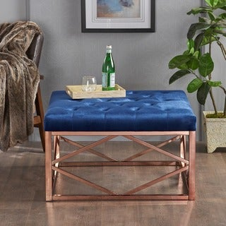 Talia Modern Glam Square Tufted Velvet Ottoman by Christopher Knight Home