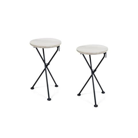 Los Feliz Outdoor Round Portable Foldable Acacia Wood Side Table (Set of 2) by Christopher Knight Home