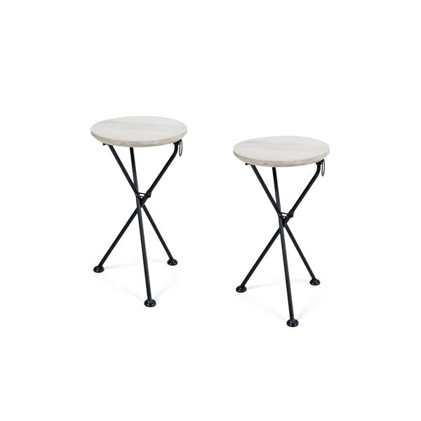 Los Feliz Outdoor Round Portable Foldable Acacia Wood Side Table (Set of 2) by Christopher Knight Home. Opens flyout.