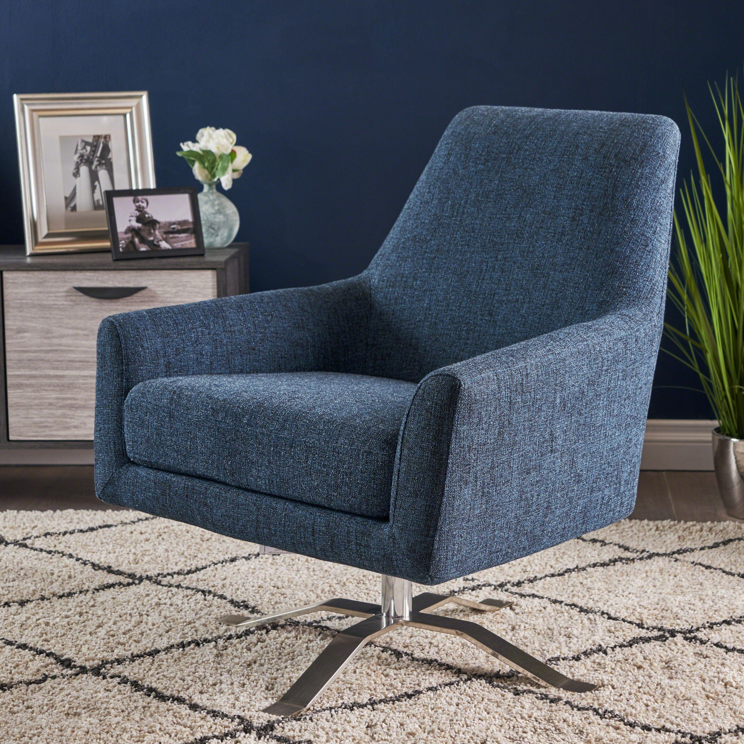Astounding Ailis Modern Fabric Swivel Club Chair By Christopher Knight Home Theyellowbook Wood Chair Design Ideas Theyellowbookinfo