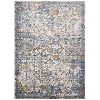 Minu Distressed Persian Medallion Area Rug (Light Blue/Yellow 8 x 10)