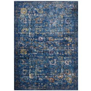 Minu Distressed Persian Medallion Area Rug (Dark Blue/Yellow 5 x 8)