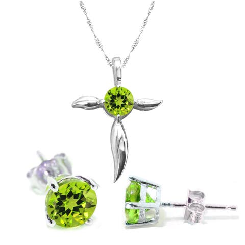 Set of Sterling Silver Pendant and Earring in Natural Peridot