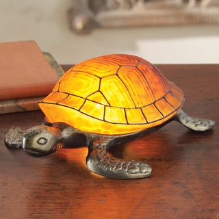 Stained Glass Accent Lamp, 'Turtle Glow' (China)
