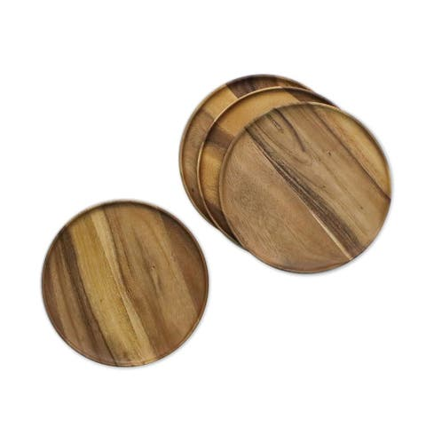 Handmade Natural Discs Wood Plates, Set of 4 (Thailand)