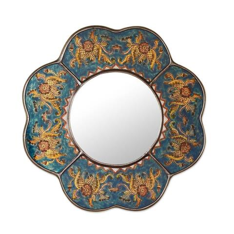 "Handmade Reverse Painted Glass Blue Floral Mirror (Peru) - Multi - 16"" x 16"""