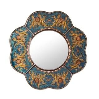 "Handmade Reverse Painted Glass Blue Floral Mirror (Peru) - Multi - 16"" x 16"""