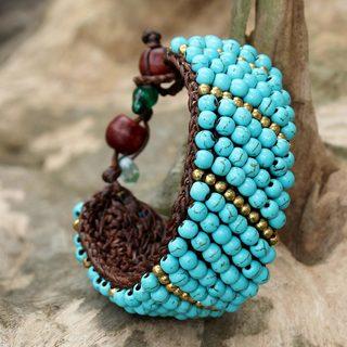 Handmade Brass 'Thai Smile' Calcite Bracelet (Thailand)