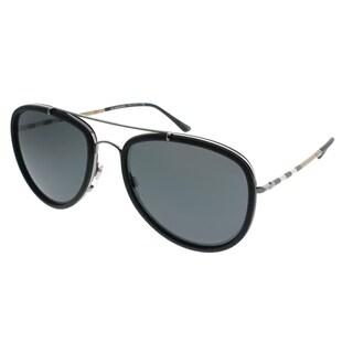 Burberry Aviator BE 3090Q 100387 Unisex Gunmetal/Matte Black Frame Grey Lens Sunglasses