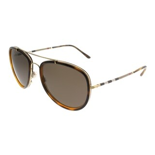 Burberry Aviator BE 3090Q 116773 Unisex Light Gold Havana Frame Brown Lens Sunglasses