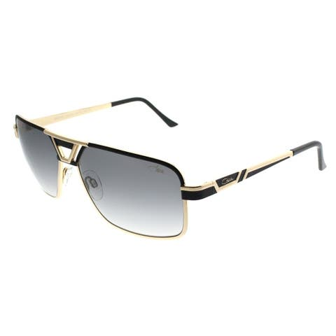 Cazal Rectangle Cazal 9071 001SG Unisex Black Frame Grey Lens Sunglasses