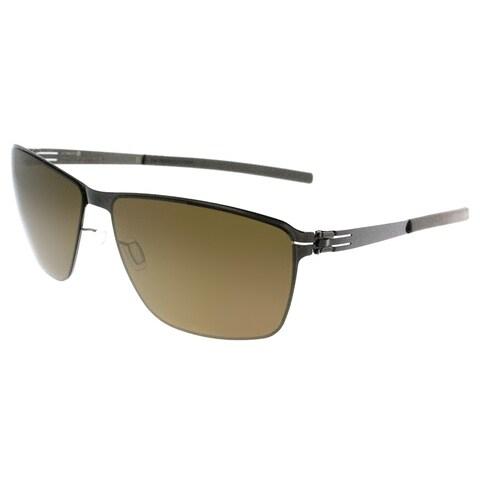 ic! Berlin Rectangle ic Oli Gunmetal Men Gunmetal Frame Brown Mirror Lens Sunglasses