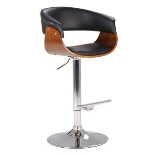 Black Mid Century Swivel-Adjustable Wood Barstool