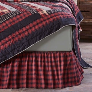Red Rustic Bedding VHC Cumberland Bed Skirt Cotton Plaid Gathered