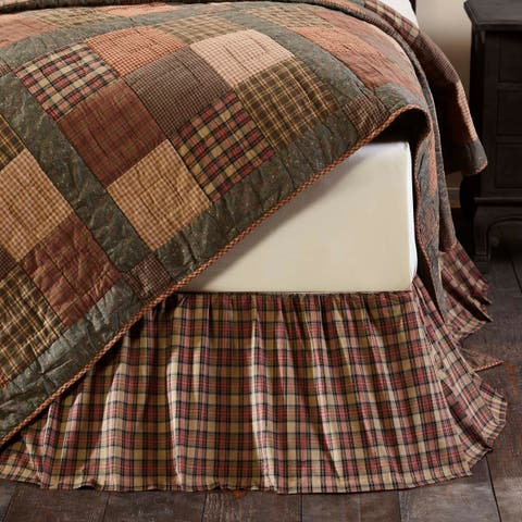 Tan Primitive Bedding VHC Crosswoods Bed Skirt Cotton Plaid Gathered