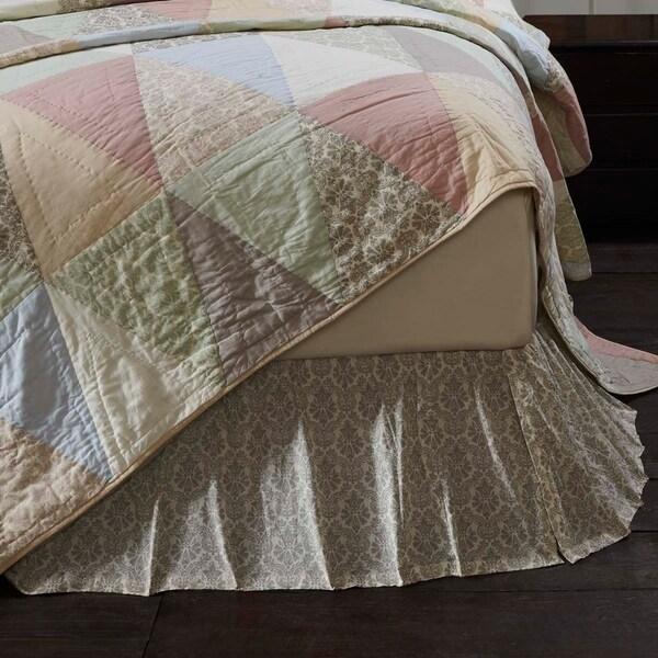 White Farmhouse Bedding VHC Ava Bed Skirt Cotton Floral - Flower Gathered
