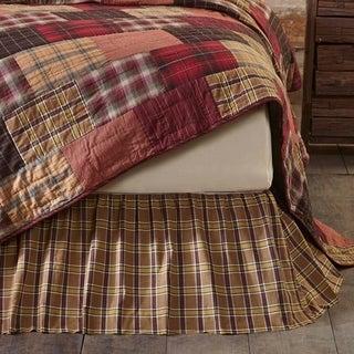 Tan Rustic Bedding VHC Wyatt Bed Skirt Cotton Plaid Gathered