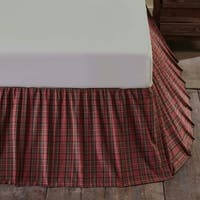 Red Rustic Bedding VHC Tartan Red Plaid Bed Skirt Cotton Plaid Gathered