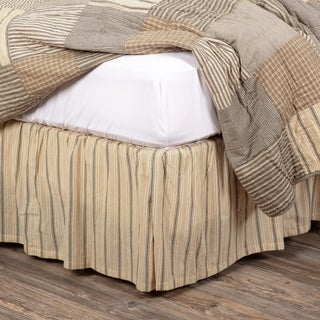 White Farmhouse Bedding VHC Sawyer Mill Bed Skirt Cotton Striped Gathered