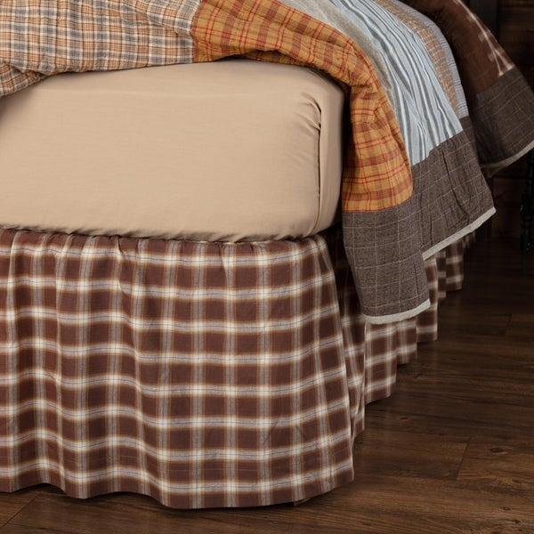Brown Rustic Bedding VHC Rory Bed Skirt Cotton Windowpane Gathered