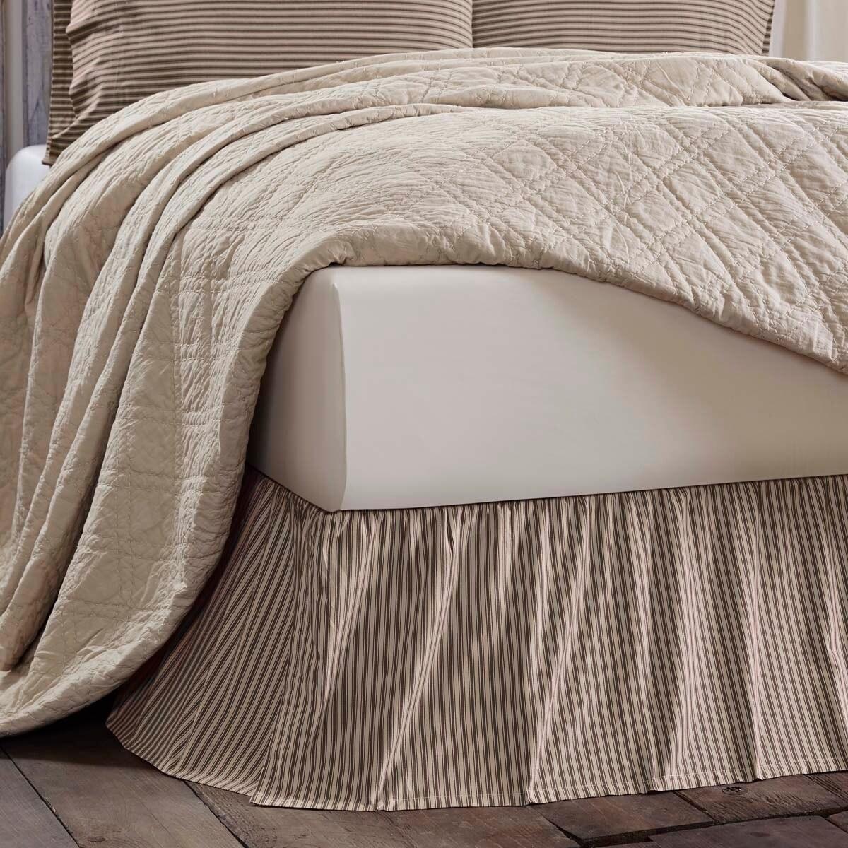 VHC Farmhouse Bed Skirt Sawyer Mill Ticking Stripe Bedding Cotton Striped