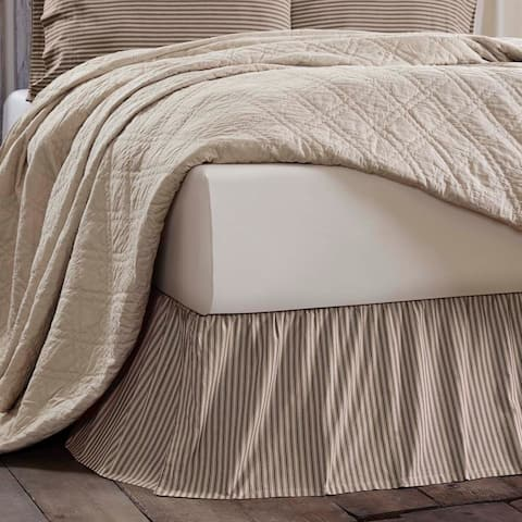 Farmhouse Bedding VHC Kendra Stripe Bed Skirt Cotton Striped Gathered
