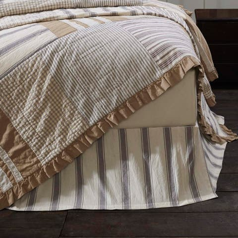 White Farmhouse Bedding VHC Grace Bed Skirt Cotton Striped Tailored