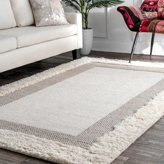 Link to nuLOOM Beige Hand-woven Flatweave Border Shag Rug Similar Items in Shag Rugs