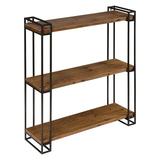 Kate and Laurel Lintz Wood and Metal Floating Wall Shelves