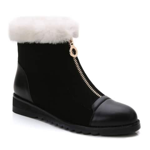 Rosewand Womens Cameia Enforced Toe Front Zipper Booties