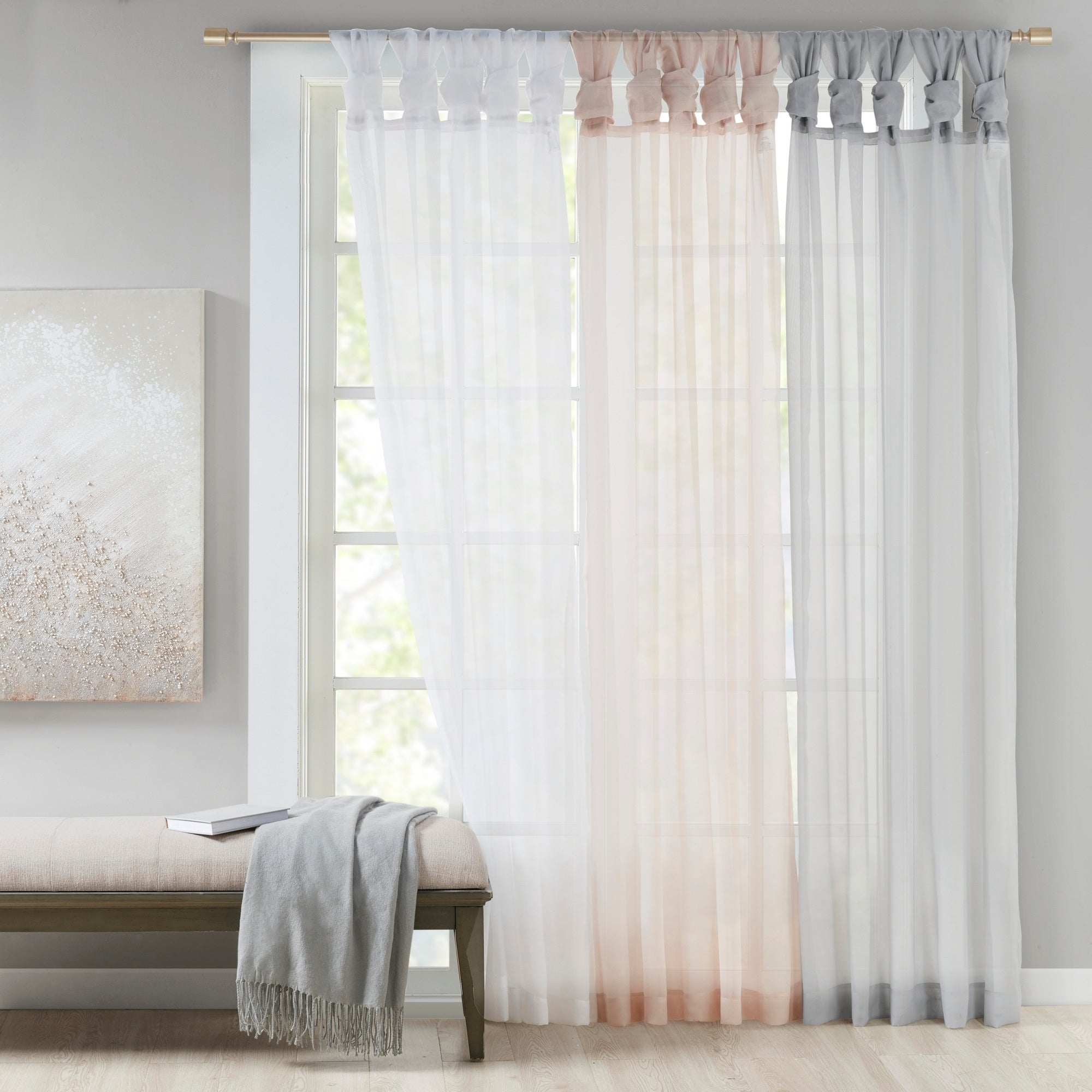 Madison Park Elowen White Twist Tab Voile Sheer Curtain Panel Pair In Light Grey 50 W X 84 L As Is Item Overstock 30699462