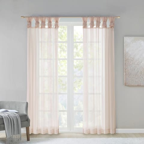 Madison Park Elowen Twisted Tab Voile Sheer Window Pair
