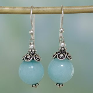 Handmade Sterling Silver 'Aqua Delight' Aventurine Earrings (India)