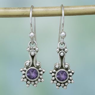 Handmade Sterling Silver 'Lilac Dots' Amethyst Earrings (India)