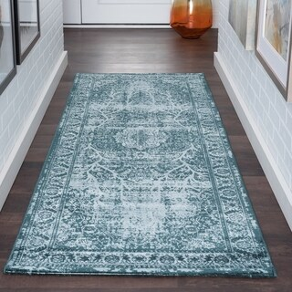 Alise Essence Blue Transitional Oriental Runner Rug (2'7 x 9'10)