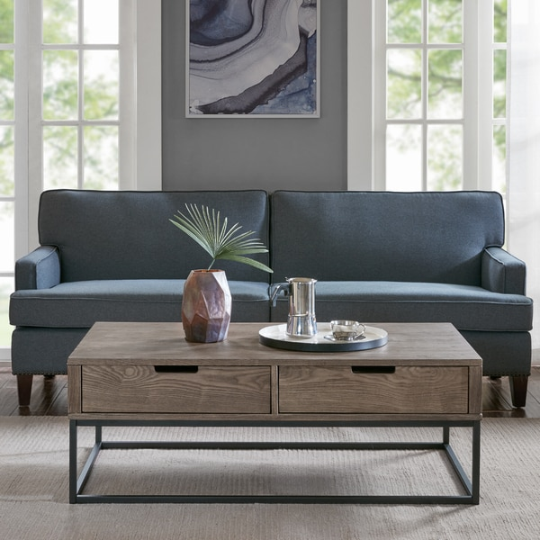 Slate Coffee Table With Drawers: Shop Madison Park Becca Brown/Slate Wood/Metal 2-drawer
