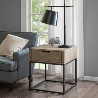 Madison Park Becca Brown/Slate Storage End Table with Drawer