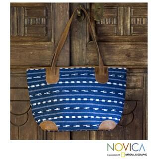 Handmade Cotton Leather Accent 'Blue Maya' Medium Shoulder Bag (Guatemala) (As Is Item)