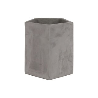 Urban Trends Cement Pentagon Flower Pot in Concrete Finish - Gray