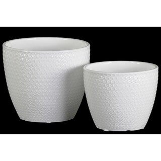 UTC51802: Ceramic Round Pot with Embossed Lattice Cross Design Body and Tapered Bottom Set of Two Gloss Finish White