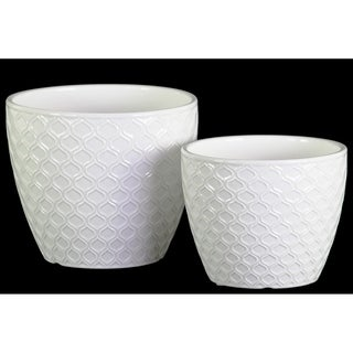 UTC51803: Ceramic Round Pot with Embossed Teardrop Design Body and Tapered Bottom Set of Two Gloss Finish White