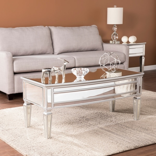 Shop Silver Orchid Olivia Mirrored Cocktail Table